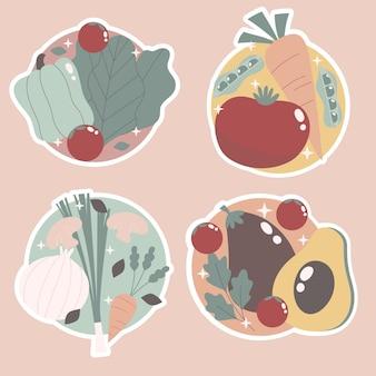 素朴な果物と野菜のステッカーパック
