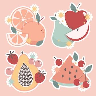 Наивная наклейка с фруктами и овощами