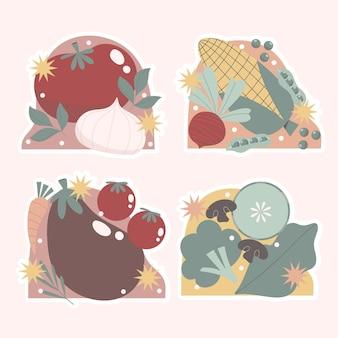 Set di adesivi ingenui di frutta e verdura