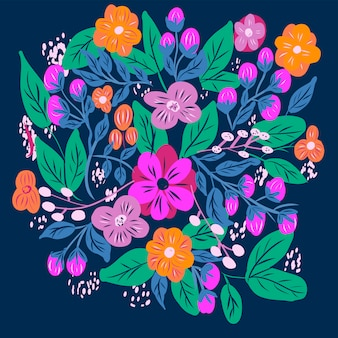 Naive hand drawn flowers background