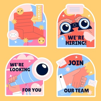 Naive hiring and join us stickers collection