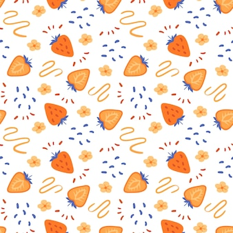 순진한 오렌지 딸기 원활한 패턴 손으로 그린 라인과 평면 스타일에 파스텔 질감을 한다면