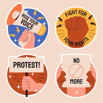 Naive protest stickers illustration