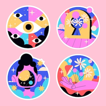 Naive psychedelic stickers colorful illustration