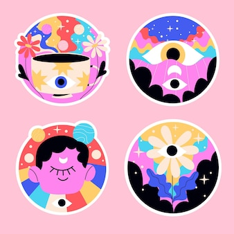 Naive psychedelic stickers colorful illustration Free Vector
