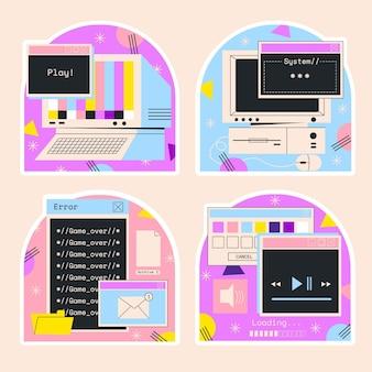 Naive retro internet and computer stickers