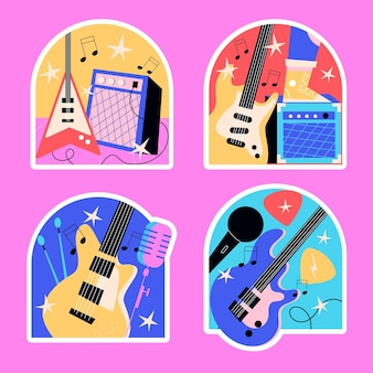 Naive rock star and live music stickers