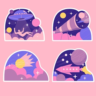 Naive science fiction stickers collection