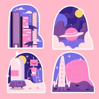 순진한 공상 과학 스티커 컬렉션