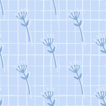 花の枝の抽象的な数字と素朴なシームレスな落書きのパターン。白のチェックと青色の背景。 Premiumベクター
