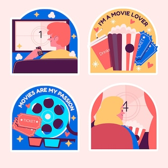Naive set of movies lover stickers