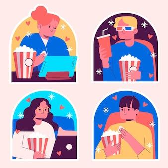 Set ingenuo di adesivi per gli amanti dei film