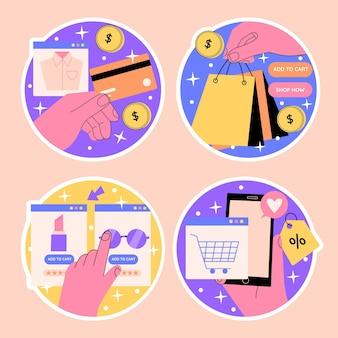 Naive shopping stickers set