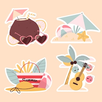 Naive summer stickers collection