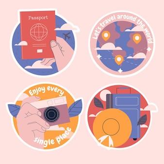 순진한 여행 스티커 컬렉션