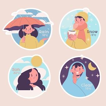 순진한 날씨 스티커 컬렉션