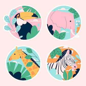 Naive wildlife stickers collection