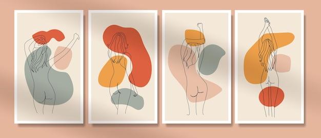 裸の女性の自由奔放に生きるポスターカバー一線画