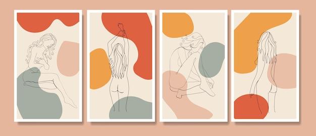 Обнаженные женщины в стиле бохо на обложке одной линии рисунка