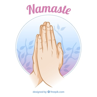 Namaste gesture and leaves