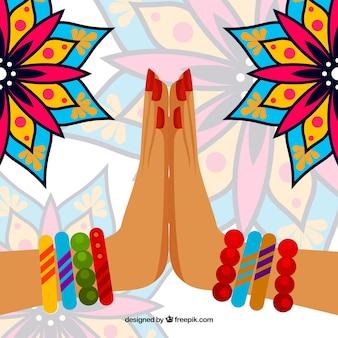 Namaste gesture and mandalas