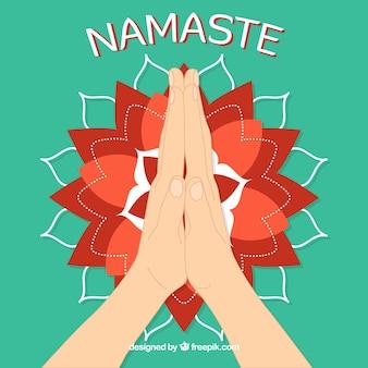 Namaste gesture and modern mandala