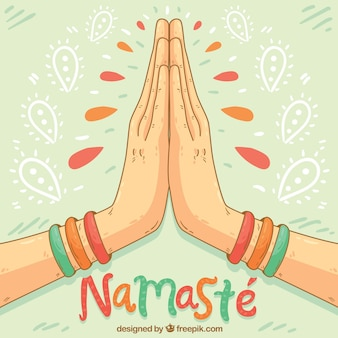 Namaste gesture with hand drawn style
