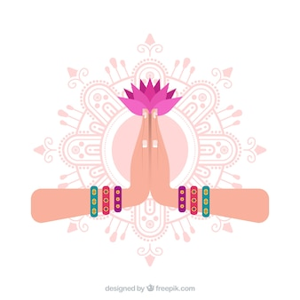 Namaste gesture with mandal and flower