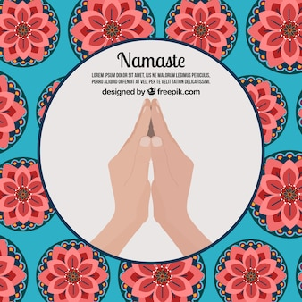 Namaste greeting background with flowers in flat design