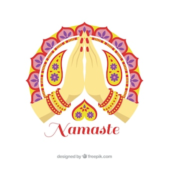 Namaste greeting decorative background