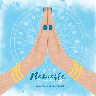 Namaste greeting watercolor background