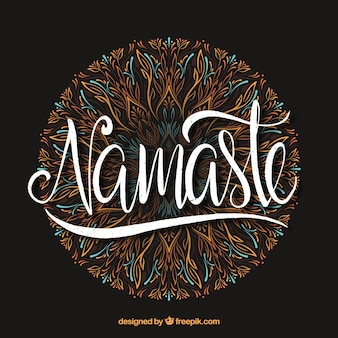 Namaste lettering with hand drawn mandala
