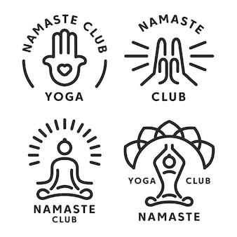 Namaste and yoga icon set