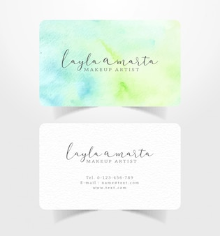 Name card business card with blue green splash watercolor