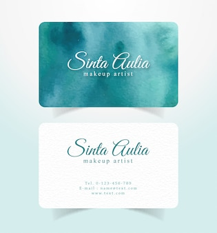Name card business card with dark tosca splash watercolor template