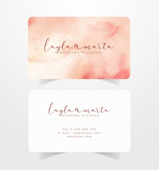 Name card business card with red brown splash watercolor template