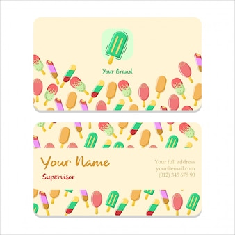 Name card bussiness ice cream flat design