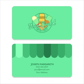 Name card bussiness ice cream green flat color