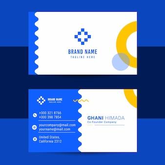 이름 카드 앞면과 뒷면 디자인 템플릿.