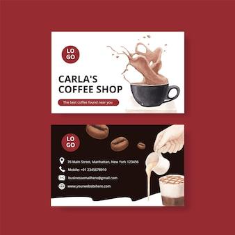 Шаблон визитки с кофе в стиле акварели Бесплатные векторы