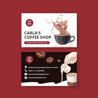 Name card template with coffee in watercolor style