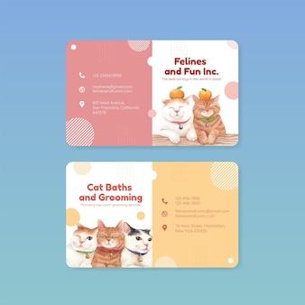 水彩風のかわいい猫と名前カードテンプレート