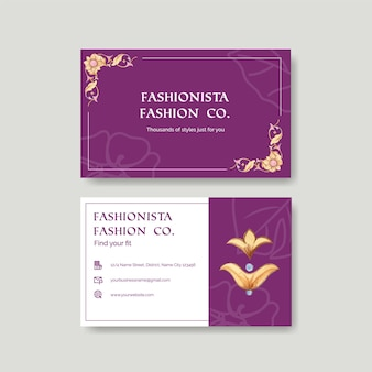 Name card template with italian style in watercolor style