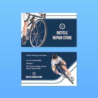 世界自転車デーのコンセプト、水彩スタイルの名前カードテンプレート