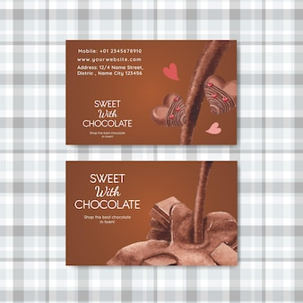 Name card template with world chocolate day concept