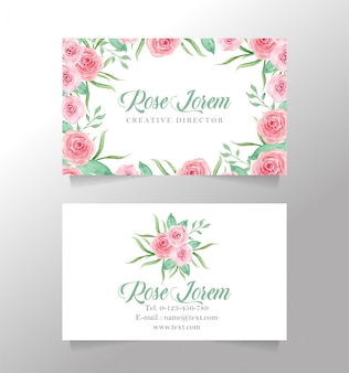 Name card white and flower template