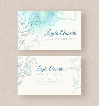파란색 벡터와 스플래시 페인팅 배경 템플릿이 있는 이름 카드
