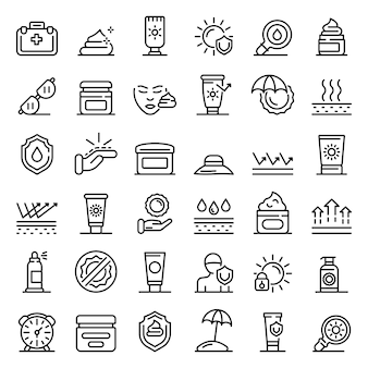 Name icons set, outline style