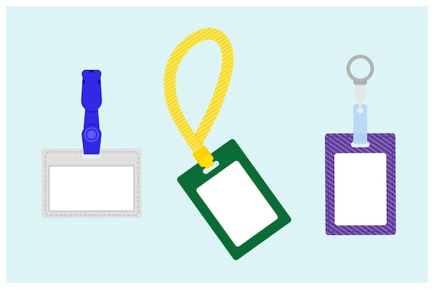 Name tag badges in different colors. flat design vector illustration