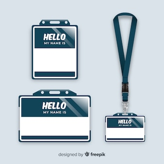Name tag template collection with realistic design
